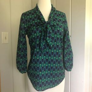 Cynthia Rowley Novelty Print Owls Blouse Small